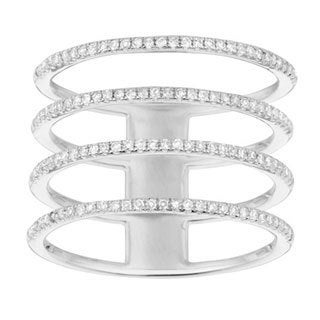 14k White Gold 2/5ct White Diamond Multi-row Ring (G-H, I1)