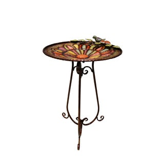 Metal Colorful Birdbath with Bird and Leaves