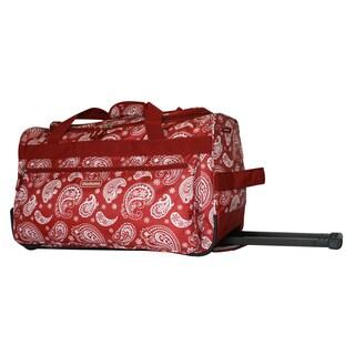 Dadamo 21-inch Burgundy Paisley 4-pocket Rolling Carry On Upright Duffel Bag