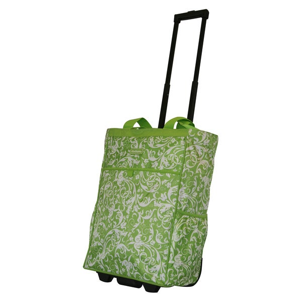 Dadamo 20-inch Lime Floral Rolling Shopper Tote Bag