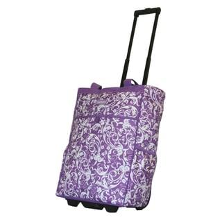 Dadamo 20-inch Purple Floral Rolling Shopper Tote
