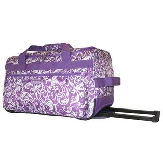 Dadamo 21-inch Purple Floral 4-pocket Rolling Carry-on Upright Duffel Bag