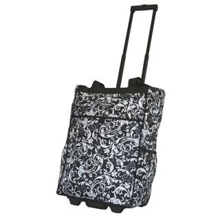 Dadamo 20-inch Black Floral Rolling Shopper Tote