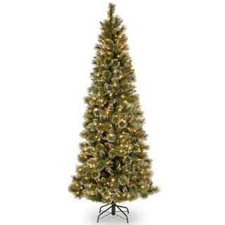 Glittery Bristle Pine Slim Hinged Tree with 600 LED Lights