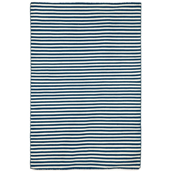 Petite Stripe Navy Outdoor Rug (3'6x5'6)