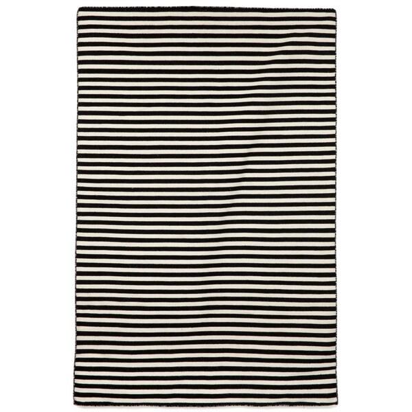 Petite Stripe Black Outdoor Rug (3'6x5'6)