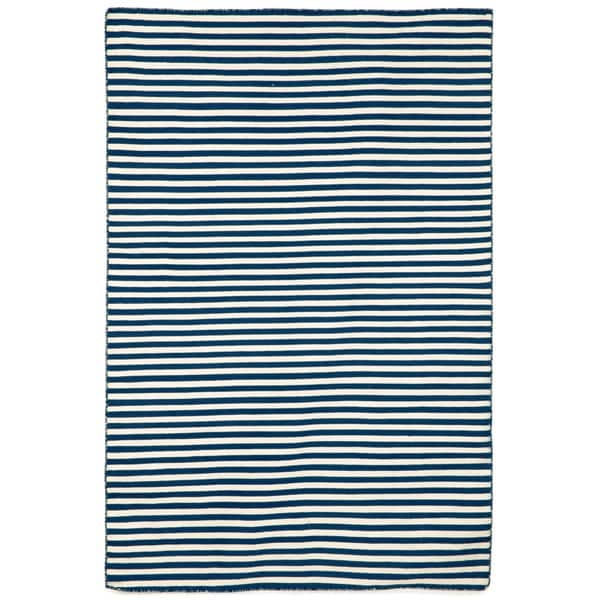 Petite Stripe Navy Outdoor Rug (5'X7'6)