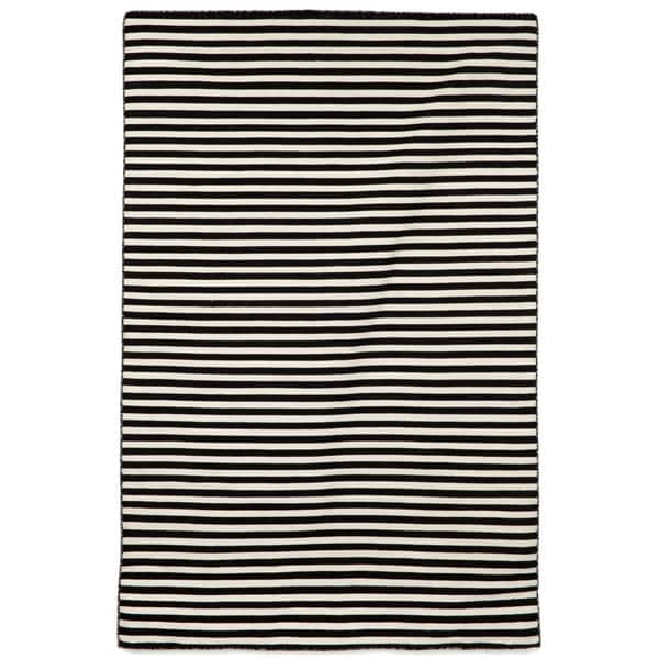 Petite Stripe Black Outdoor Rug (5'X7'6)