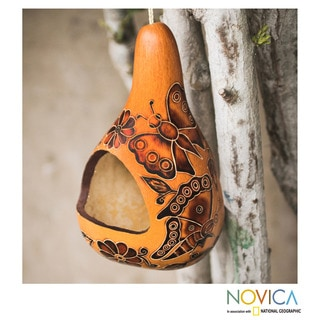 Handcrafted Mate Gourd 'Butterfly Haven' Bird Feeder (Peru)