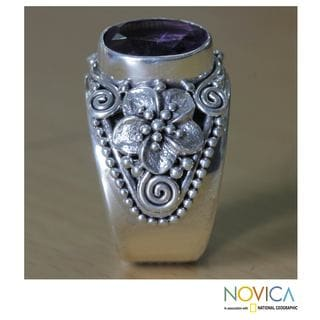 Sterling Silver 'Lilac Frangipani' Amethyst Cocktail Ring (Indonesia)
