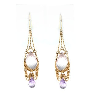 Michael Valitutti Sterling Silver Rose Quartz and Amethyt Gathered Chain Earrings