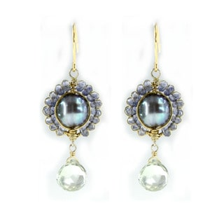Michael Valitutti Sterling Silver gold Embrace Peacock Pearl Iolite and Green Amethyst Earrings (8-9 mm)