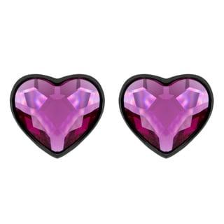 Sterling Essentials Black Rhodium Plated Pink Crystal Heart Earrings