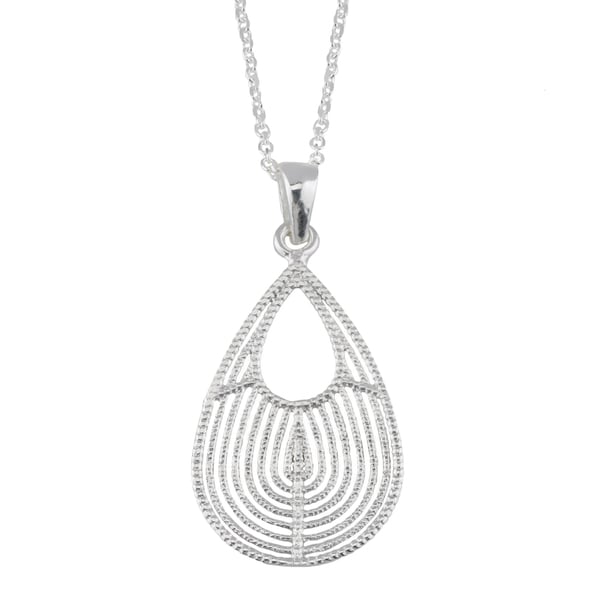 Fremada Sterling Silver Textured Graduated Teardrop Pendant