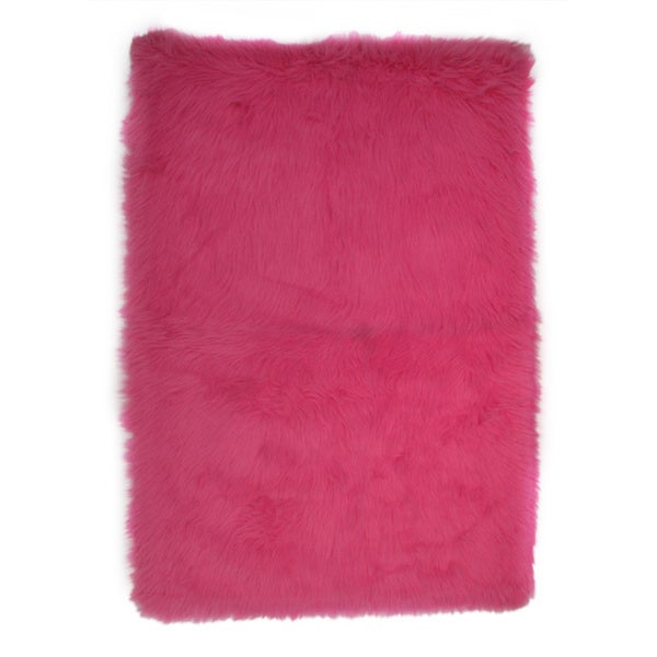Hot Pink Polyester Area Area Rug (3'2 x 4'8) 14178249