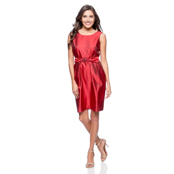 Alex Evenings Women's Cranberry Sleeveless Shift Dress with Beaded Applique Belt