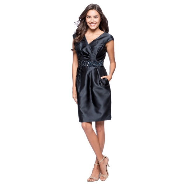 Alex Evenings Women's Midnight Embellished-waistband Cocktail Dress