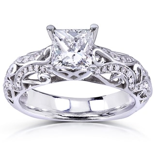 Annello 14k White Gold 1 1/6ct TDW Princess-cut Diamond Engagement Ring (H-I, I1-I2)