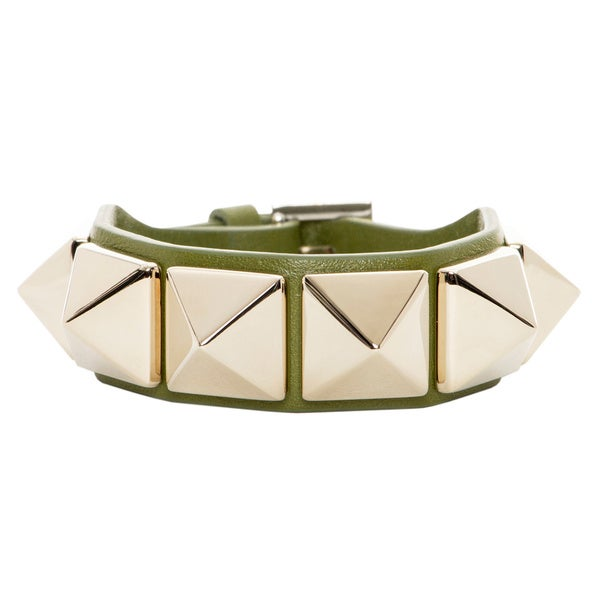Valentino Macro Stud Leather Bracelet