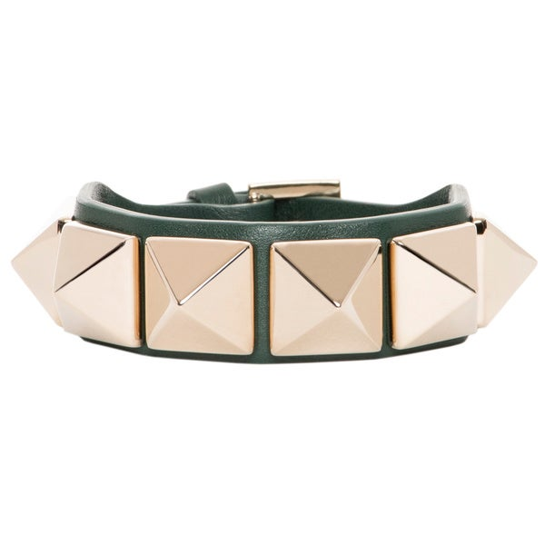Valentino Macro Pyramid Stud Dark Green Leather Bracelet