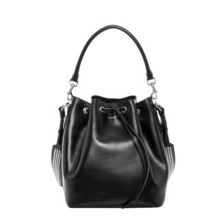 Saint Laurent Medium Black Leather Studded Bucket Bag