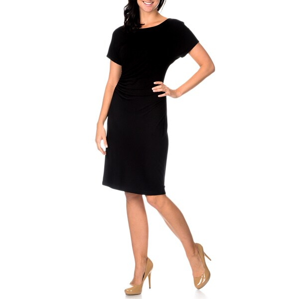 Chelsea & Theodore Women's Black Ruched Waist Dress