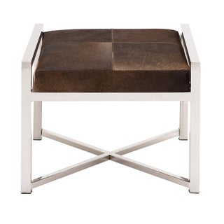 Modern Design Stainless Steel and Cowhide Leather Ottoman