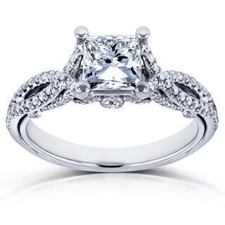 Annello 14k White Gold 1 1/3ct TDW Princess-Cut Diamond Engagement Ring (H-I, I1-I2)