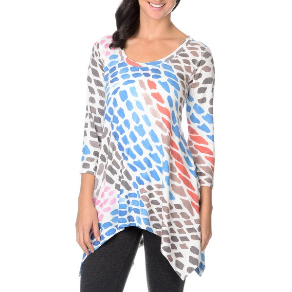 Chelsea & Theodore Women's Spotted Print Trapeze-hem Top