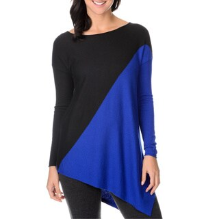Chelsea & Theodore Womens Diagonal Print Asymmetrical Sweater