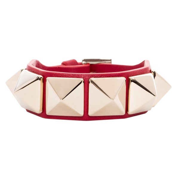 Valentino Macro Pyramid Stud Red Leather Bracelet