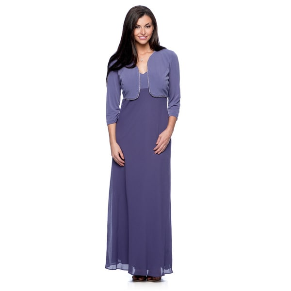 Alex Evenings Women's Iris Long Dress and Jacket Set