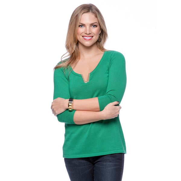 August Silk Women's Solid Emerald 3/4 Sleeve Top with Metallic V-Insert
