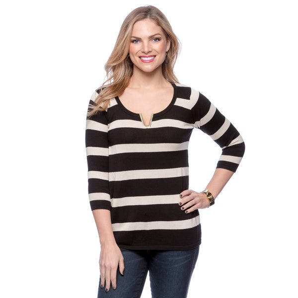 August Silk Women's 3/4 Sleeve Wide Stripe Top with Metallic V-insert