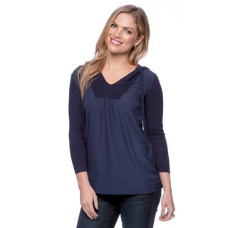 August Silk Parisian Navy 3/4 Sleeve Contrast Hoodie with Drawstring