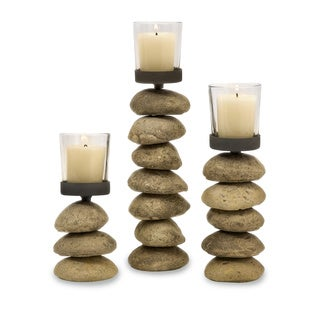 Cairn Candleholders with Glass Votive Cup (Set of 3)