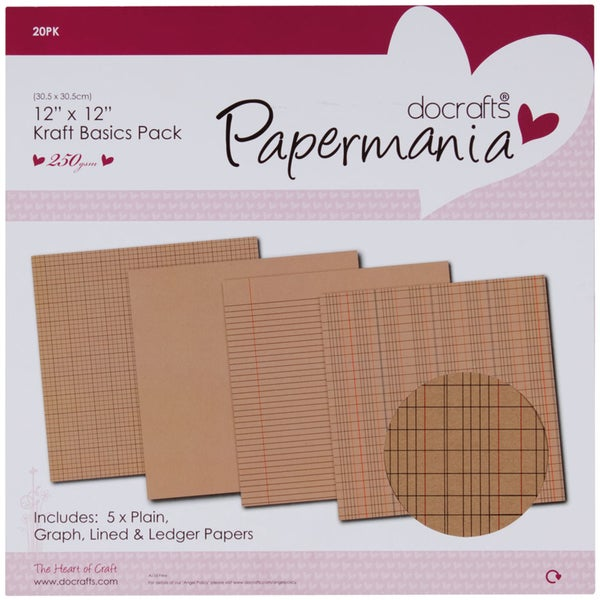 Papermania Kraft Basics Paper Pack 12inX12in 20/Pkg