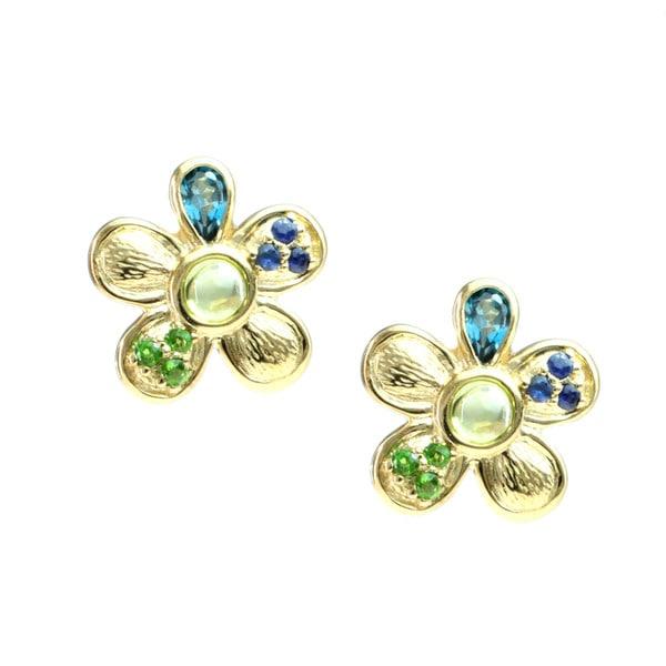 Michael Valitutti Multi Gemstone 'Flower' Stud Earrings