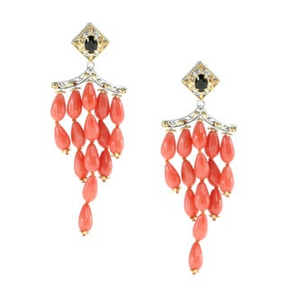 Michael Valitutti Salmon Coral And Black Spinel Earrings