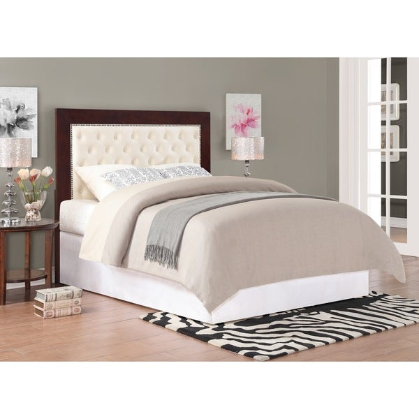 Dorel Living Wood with Tufted Fabric Headboard