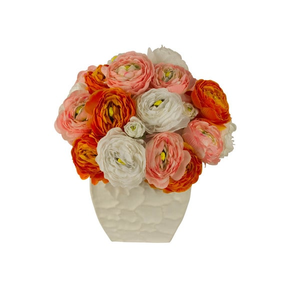 Odette Silk Floral Arrangement with White Orange and Pink Ranunculus Flowers in a White Vase