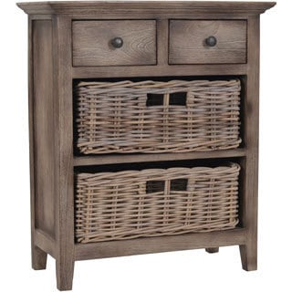Baker Cabinet with 2 Drawers and 2 Rattan Baskets