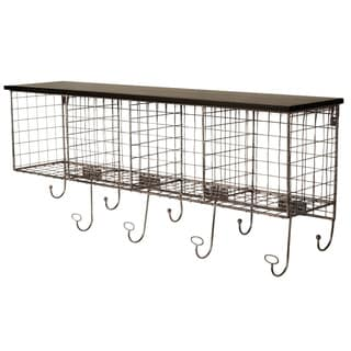 Black Wire Four Cubby Wall Shelf and Hangers