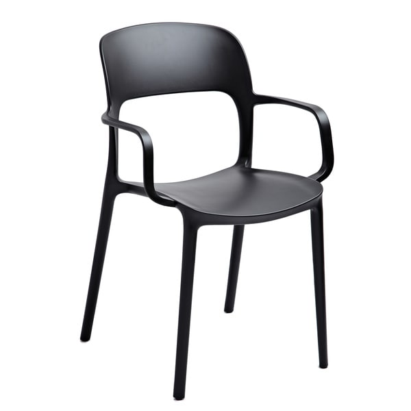 Jason Black Stackable Arm Chair (Set of 2)