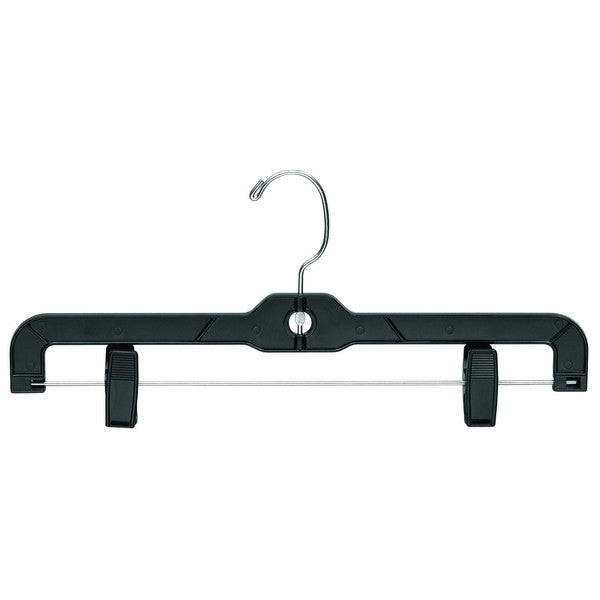 Black Plastic Bottom Hanger with Clips (Box of 100)