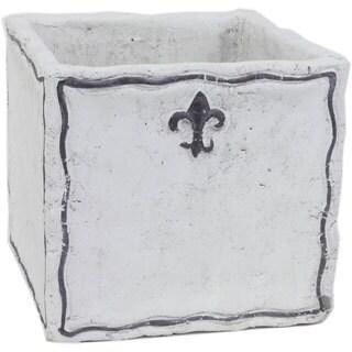 Sage & Co White Cement Square Fleurs Planter (6.5 x 6)