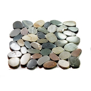 Interlocking Sky Green Indonesia Flat Pebble Tiles (5-Pack) Kitchen, Bathroom, and Patio Flooring