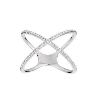 Sterling Silver 1/4ct TDW Diamond 'X' Ring (G-H, I1)