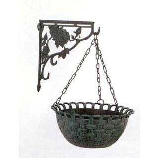 Cast Rose Design Patina Hanging Basket