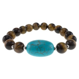 Pearlz Ocean Tigers Eye and Turquoise Howlite Stretch Bracelet